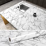 VEELIKE Grey Marble Contact Paper for Countertops Waterproof Self Adhesive White Marble Wallpaper Peel and Stick Removable Wall Paper for Counter Top Covers Cabinets Kitchen Bedroom Home 15.7''x708''