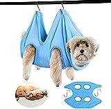 GNCNSHK Hamaca de aseo de mascotas 2 en 1 toalla de secado para perro y gato hamaca bolsa de restricción, cortaúñas baño lavado aseo (M)