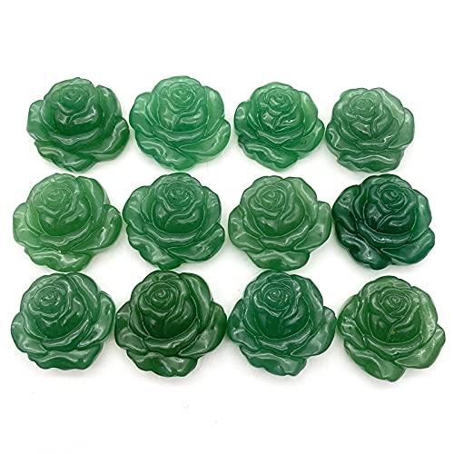 THEAHUE DW904 1 PC Natural Green Aventurine Rose Flower Mano Tallada Flores de Cristal con Orificio Sangre Stones Decoración Regalos Piedras Naturales Cristales