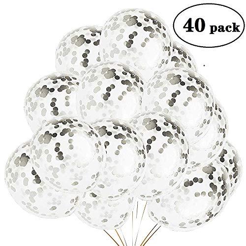 40 Stück Konfetti Luftballons Silber, Silber Luftballon,Helium Ballons Konfetti für Hochzeit Bride Verlobung, Geburtstag Abschluss Graduierung Party Deko 12 Zoll