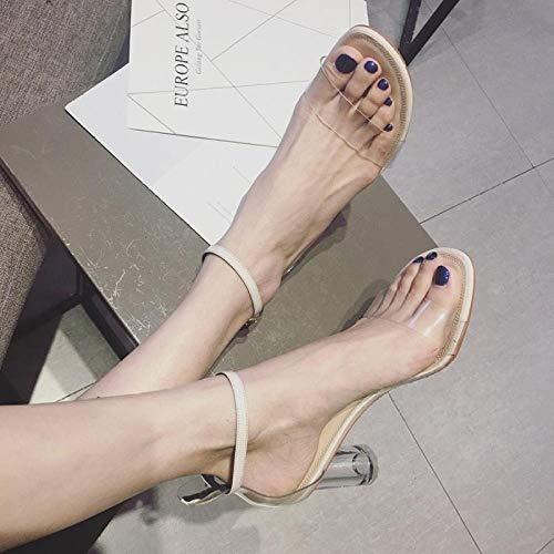 Vrouwen satijnen bruids partij sandalen,Open teen transparante sandalen, dikke PVC sandalen met hoge hakken-gebroken wit_39,Vrouwen bruids sandalen Peep Toe