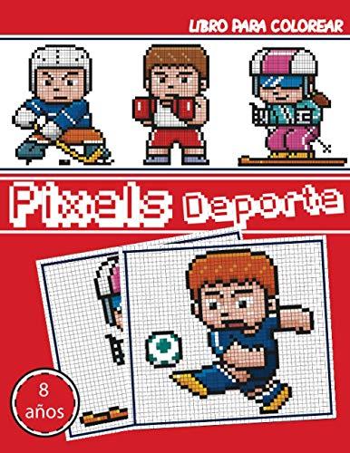 Libro para colorear - Pixel Deporte: Cuaderno de dibujo de pixel art para niños y adultos - Cuaderno grande de pixel art cuadrado. Cuaderno de dibujo ... de colorear pixel art para niños y adultos