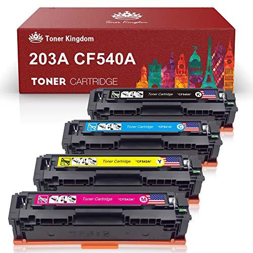Toner Kingdom 4 Pack 203A CF540A-CF543A 203X CF540X Toner compatibel met HP Color Laserjet Pro MFP M281fdw MFP M280nw MFP M281 MFP M280 M254nw M254dw M254dn MFP M281fdn MFP M281cdw M254 Printer