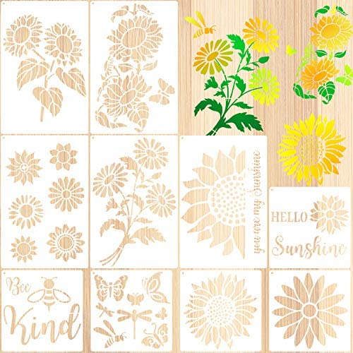 10 Pieces Sunflower Stencils Butterfly Bee Reusable Template You are My Sunshine Stencil Daisy product image