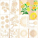 10 Pieces Sunflower Stencils Butterfly Bee Reusable Template You are My Sunshine Stencil Daisy Painting Template with Metal Open Ring for DIY Painting on Wood Wall Home Decor Supplies