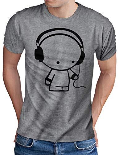 OM3® - Headphones-Music-Beat - T-Shirt - Herren - DJ Sound Audio - Grau Meliert, L