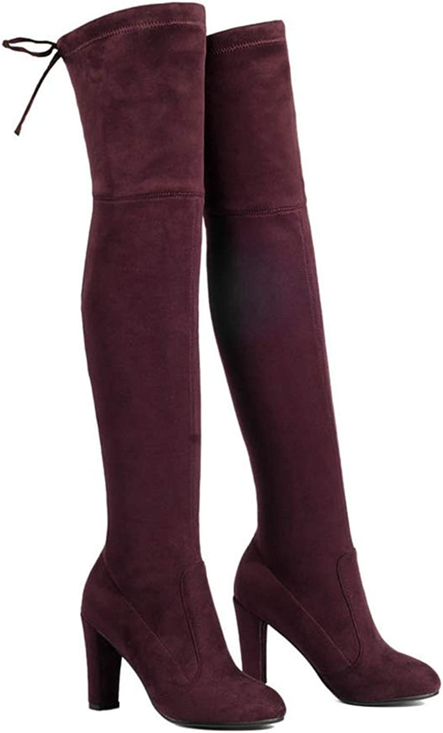 Ladies Over The Knee Boots Square High Heel Women Boots Sexy Ladies Lace Up Fashion Comfortable Boots