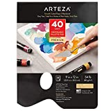 Arteza Disposable Palette Paper Pad, 9x12 Inch, 40 White Sheets, 54 lb, Glue-Bound, Bleed-Proof Paint Palette with Thumb Hole, for Oil Paint, Acrylics, Watercolors & Gouache