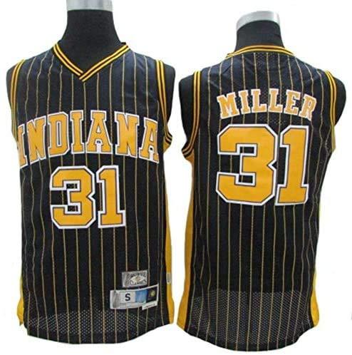 JAG Maglia da Basket NBA Indiana Pacers # 31 Reggie Miller, Tessuto Traspirante Fresco Nuove Maglie retrò Ricamate, Unisex Uniforme da Tifoso da Basket, Nero, XXL: 190 cm / 95~110 kg