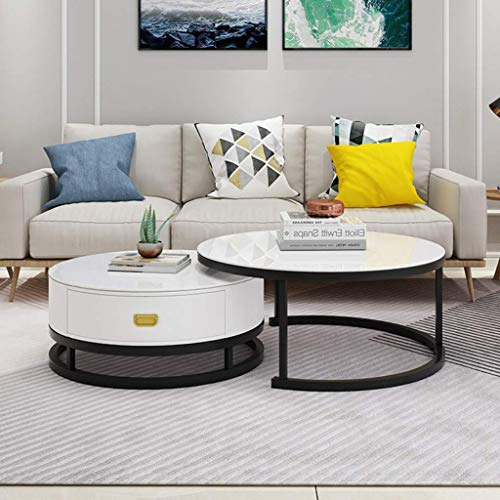 Nesting Home Round Coffee Table | Sofa Table | Accent Table Sets-Stacking Cocktail & End Table for Living Room, White Tempered Glass Top, Durable Metal Black Frame