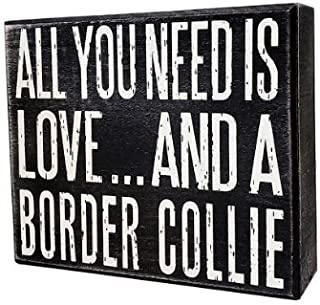 Best JennyGems - All You Need is Love and a Border Collie - Real Wood Stand Up Box Sign - Border Collie Gift Series - Border Collie Moms and Owners - Shelf Knick Knacks Review