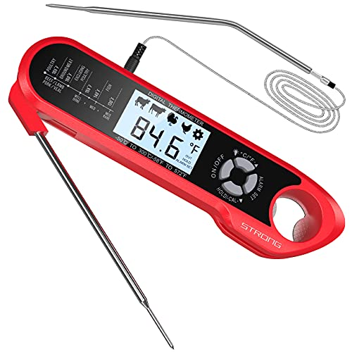 Meat Thermometer, DecorStar Dual Probe Food Thermometer with Backlight & Calibration, Digital Instant Read Meat Thermometer for Kitchen, Food Cooking, BBQ, Milk, Coffee, and Oil Deep Frying (Red)