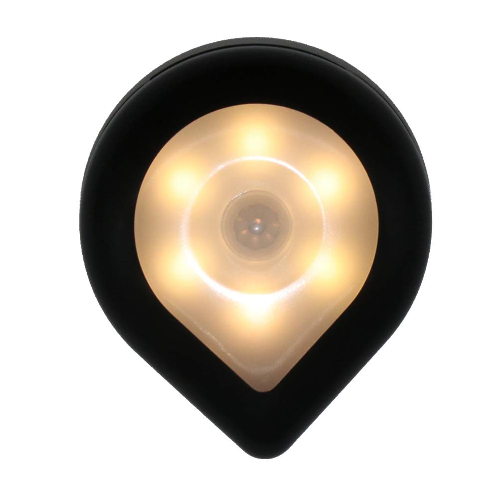Luz con sensor de movimiento, luz LED de noche a pilas, luz de escalera, clóset, iluminación en cualquier lugar para el hogar, cocina, pasillo, armario, escaleras, cuarto de baño, negro, warm light: