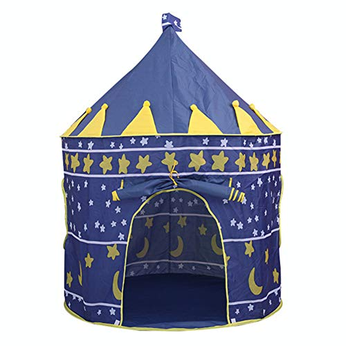 ZXGQF Children Play Tent, Portable Collapsible Indoor and Outdoor Castle Tent, Princess GirlsTents Kids Play Toy House, for Girls Boys Hexagon Play Tent (Blue)