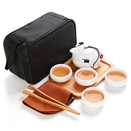OUNONA Juego de té de porcelana china Kung Fu portátil, juego de té de porcelana gong fu con tetera (4 tazas de té + bandeja de té + paño de té + pinza de té + bolsa de viaje) (blanco)