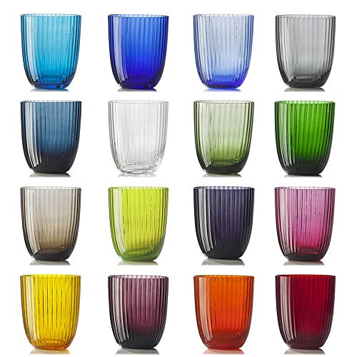Nason Moretti Idra Rigato Set 16 Bicchieri Vari Colori