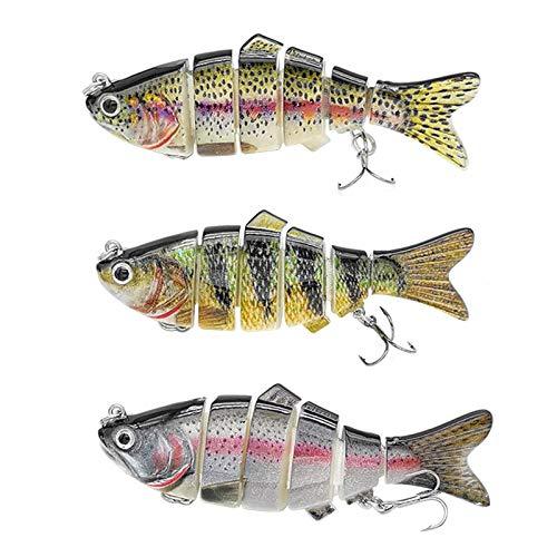 Bseical 3× Esche Artificiali da Pesca Kit, Spinning Esche da Pesca Esca di Pesce A più Sezioni Dura con 2 Ancorette da Pesca, Wobbler 3D Kit, per Lucci, Persici, Trote, Spigola, Black Minnow (1,2,3)