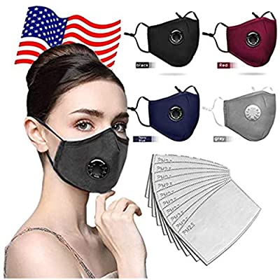 Fashion Comfortable 4 Pcs Face Bandanas Dustproof,With Elastic Ear Loop Cover,With 10 Pcs Filter Full Face Anti-Dust,Washable And Reusable Suitable For Adult,Children (4×Face Cover +10×Filter)