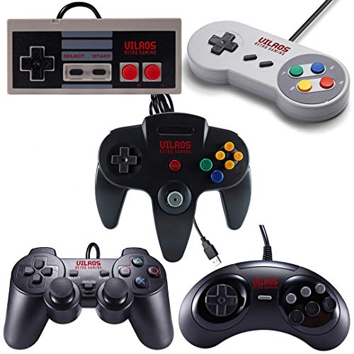 Vilros Retro Gaming 5 USB Classic Controller Set- Nintendo (NES), Super Nintendo (SNES), Sega...