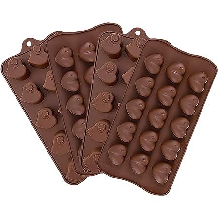 JAHEMU Moules en Silicone pour Chocolat Moule en Forme de Coeur d'halloween Moule pour Fondant Bougie Noël Decoration pour Chocolats, Gâteaux, Gelée, Pudding