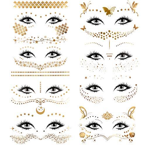 Konsait 8 Stück Tätowierung aufkleber Metallic Flash Tattoos Face Tattoo Gesicht Aufkleber Gold klebe tattoos for Frauen Dame Mädchen für Augen Gesicht Karneval Fasching Party Shows Make-up