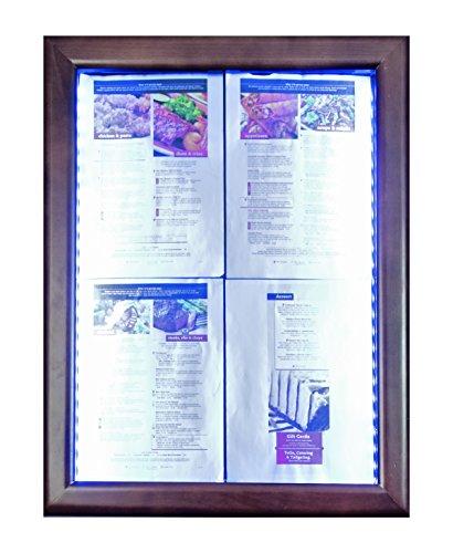 Securit LED classique en verre Affichage des informations, 4x A4(A2), 53x 70x 6cm, Marron Cadre (Mcs-4a4-wldb) marron