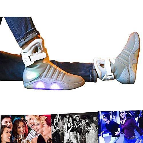 LED Schuhe USB Aufladen Leuchtschuhe Licht Blinkschuhe Leuchtende Sport Sneaker Light Up Turnschuhe Damen Herren Grey-45