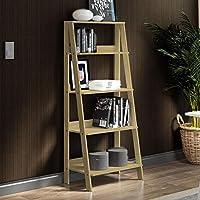 Estante Escada para Livros com 4 Prateleiras Madesa   Carvalho