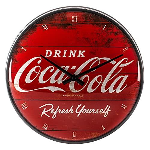 Nostalgic-Art 51074 - Orologio da Parete con Logo Coca-Cola Refresh Yourself, 31 cm, Rosso, metallo