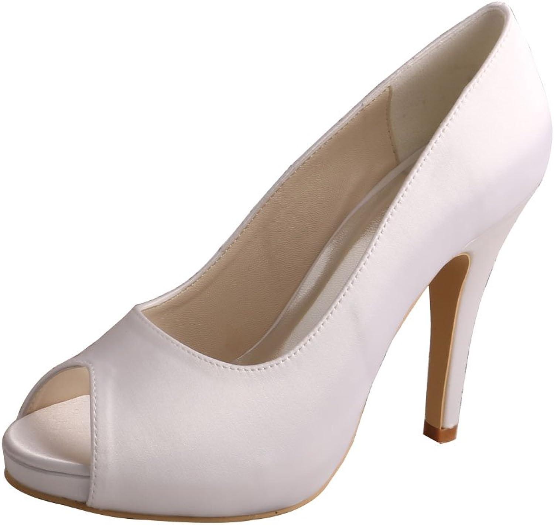 Wedopus MW706 Women's Peep Toe High Heel Platform Satin Wedding Party Dress shoes