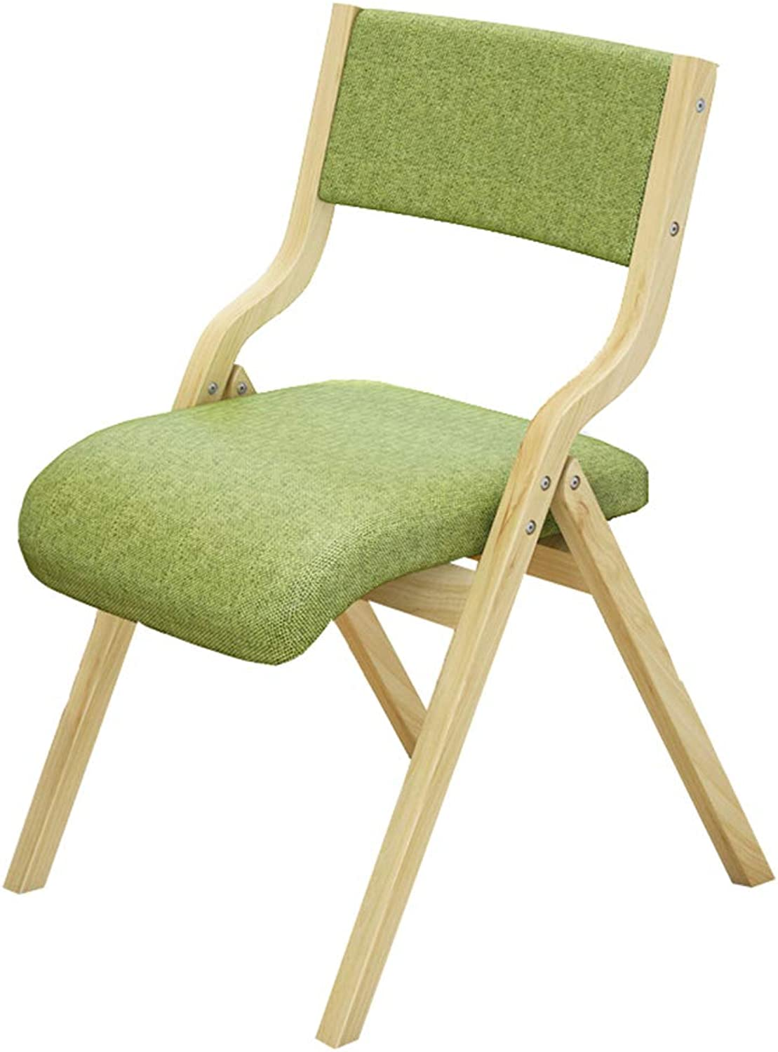 CAIJUN Chair Foldable Solid Wood Frame Thick Sponge with Backrest Breathable Comfortable Whole Outfit, 4 colors (color   Green, Size   41x47cm)