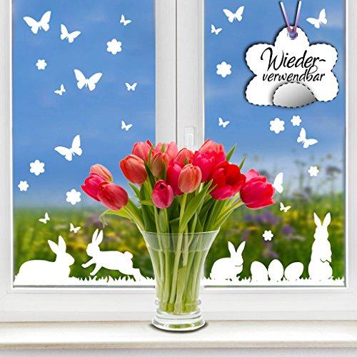 Wandtattoo-Loft Fensteraufkleber Hasen mit Ostereiern und Schmetterlingen WIEDERVERWENDBAR
