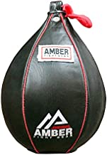 """Amber Fight Gear Genuine Leather Speed Bag Heavy Duty Leather Hanging Punch Ball for MMA Muay Thai Training Punching Dodge Striking Bag Reflex Boxing Ball Size Medium 7x10"""""""