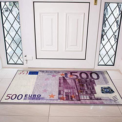Siela Euro,Dollar Bill Waschbar In Der Waschmaschine, Teppich, Teppichläufer, Teppich Brücke Für Küche, Flur, Küchenteppich Waschbar, Modern Teppiche, rutschfest Küchenläufer (Euro, 60 x 120 cm)