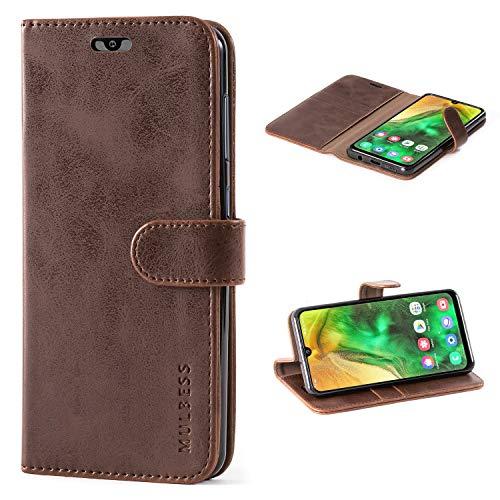 Mulbess Handyhülle für Samsung Galaxy A50 Hülle, Leder Flip Case Schutzhülle für Samsung Galaxy A50 / A30s / A50s Tasche, Vintage Braun