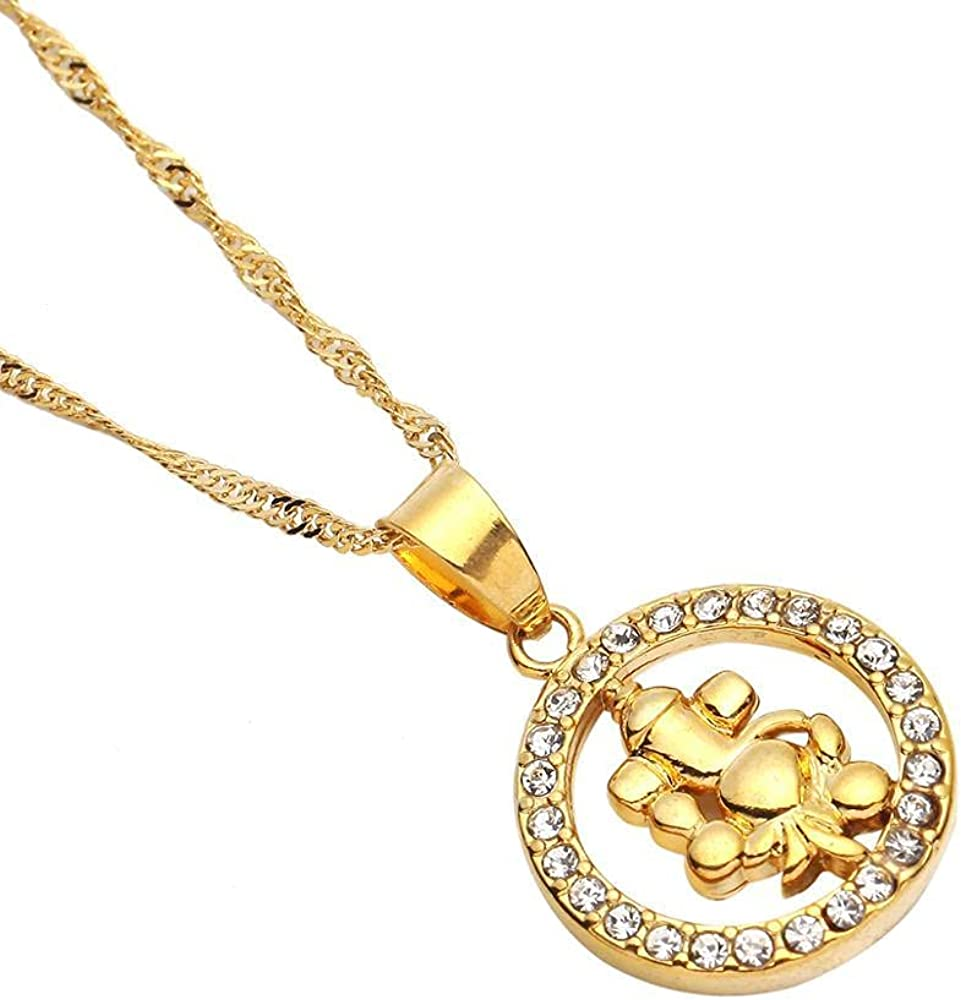 Gold Color Hinduism Stone Pendant Necklace Symbol India Round Chain Jewelry