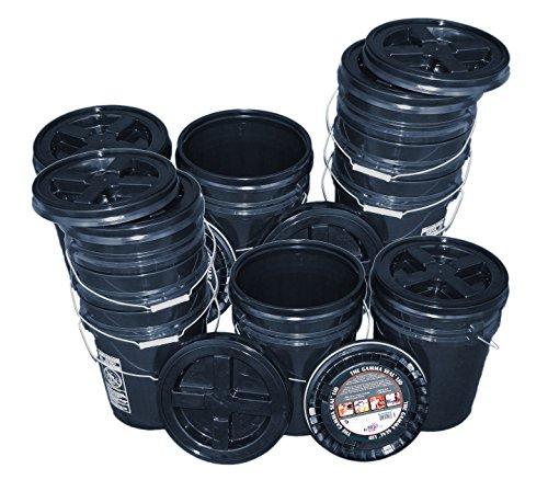 Bucket Kit, Ten Black 5 Gallon Buckets with Black Gamma Seal Lids