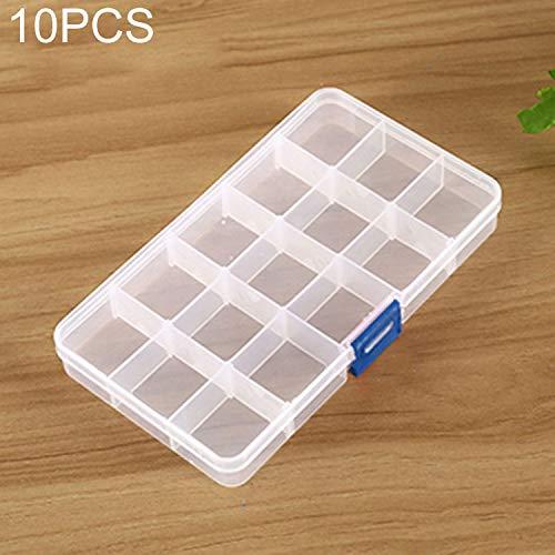 QICHENGBIN Mini Coffret à Bijoux Grille Amovible en Plastique 15 Machines à sous Box Organisateur, for Les Bijoux Boucle d'oreille Hameçon Petit Accessoires (10 PCS) (Color : Color4)