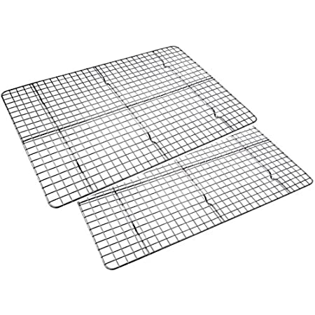 Checkered Chef Cooling Racks for Baking 17 x 11.75inch - Baking Rack Twin Set. Stainless Steel Oven and Dishwasher Safe Wire Cooling Rack. Fits Half Sheet Cookie Pan- set of 2
