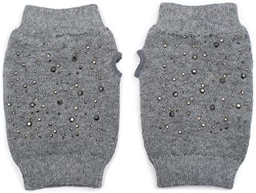 styleBREAKER Guanti senza dita da donna a maglia fine con strass, guanti invernali in maglia 09010017, colore:Grigio a pois