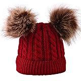 Merrynew Sombrero de pompón de Invierno para bebé recién Nacido, Gorro de Punto para niños pequeños Gorro de Gorro cálido de Ganchillo para 0-3 años