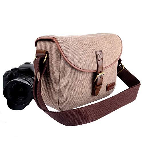 Borsa per fotocamera, Borsa a Tracolla per Macchina Fotografica e Accessori Custodia Antiurto per Macchine Fotografiche Reflex Borsa a Spalla con Tracolla Regolabile per for Canon Nikon Sony DSLR SLR