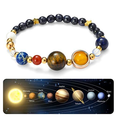 Handmade Universe Guardian Bracelets Nine Planets Star Natural Stone Astronomy Bracelet for Women Men Gift 1Pcs