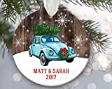 None-brands Xmas Tree Ornaments 3' Christmas Bauble Volkswagen Bug Ornament, VW car with Christmas Tree on top, Vintage car Ornament, VW Beetle Personalized Christmas Ornament, Farmhouse