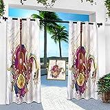 Aishare Store Pérgola cortina para exteriores, diseño de arte hippie sesenta inspirado, 108 pulgadas de largo a prueba de herrumbre extra ancha con ojal superior para interiores y exteriores (1 panel)