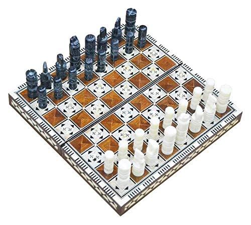 CHENSHENG Ajedrez Hecho a Mano y Backgammon en Egipto Dos Sets en uno de 35 x 35 x 4 cm (Fondo marrón) ajedrez (Color : Marrón, Size : 35 * 35)