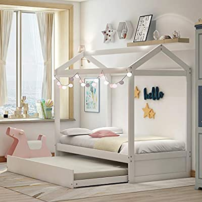 Floor Bed, Daybed for Kids with Trundle Bed, House Shape Wooden Bed Frame with Roof, Bedroom Furniture, Can be Decorated, Tent, White/Twin by KLMM