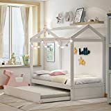 Merax Twin Frame, Solid WoodHouse Bed for Kids, No Box Spring Needed, White(with Trundle)