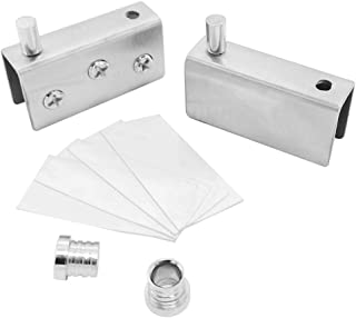 Alamic Glass Hinge Stainless Steel Glass Door Pivot Hinge Glass Clamp Silver 52x16x26mm - 1 Pair