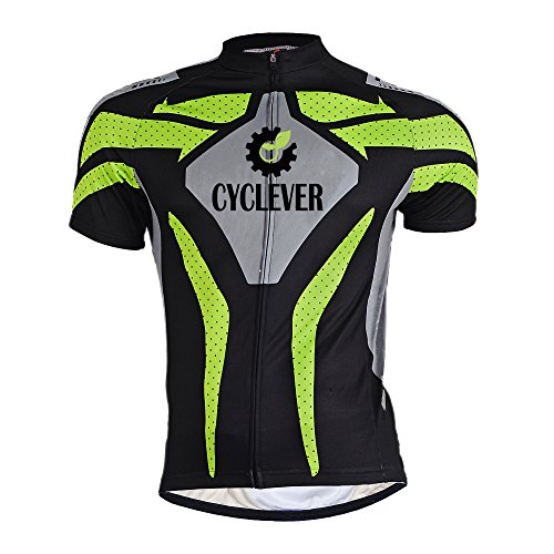 Cyclever Funktions Trikot Fahrradtrikot Kurzarm Team Radtrikot Reißverschluss Jeresy (Modell B, XXL)